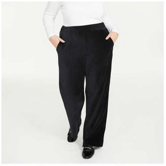 Joe Fresh Women+ Corduroy Velour Pants, JF Black (Size 1X)