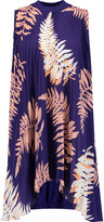 Vionnet Printed pliss&eacute silk-blend and silk-blend jersey tunic