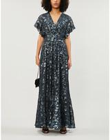 BA&SH Gemma metallic leopard-print silk-blend dress
