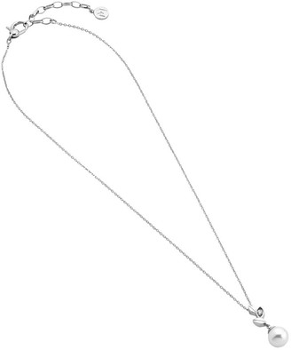 Majorica Pendant with chain 48cm long on sterling silver rhodium-plated 10mm round white pearl and zirconia