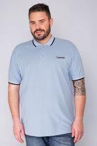 Yours Clothing LAMBRETTA Sky Blue Short Sleeve Polo Shirt