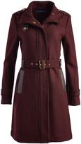 Cole Haan Bordeaux Long Wool-Blend Funnel Collar Coat