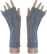 Gray Cable-Knit Fingerless Gloves