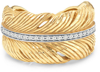 Michael Aram 18K Yellow Gold Feather Ring with Diamonds, Size 7