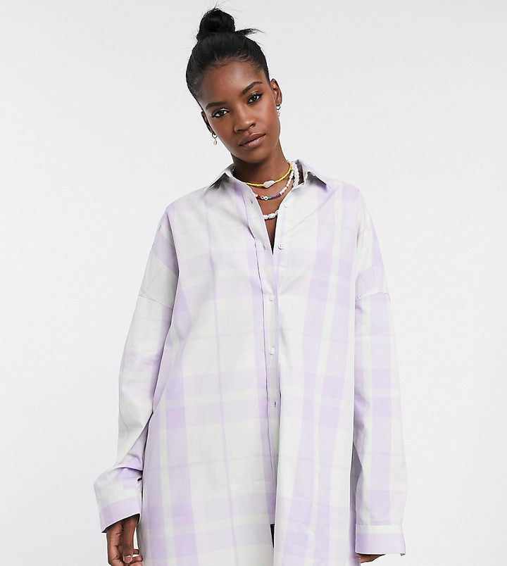 Collusion oversized shirt in check