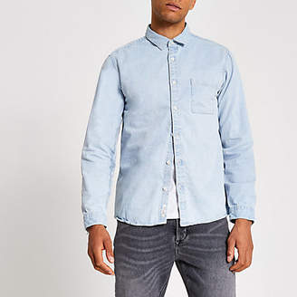River Island Light washed blue regular fit denim shirt