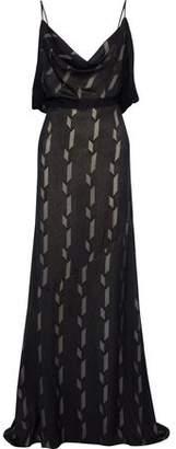 Antonio Berardi Open-back Draped Fil Coupe Silk-blend Gown