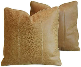 One Kings Lane Vintage Italian Leather & Linen Pillows - Set of 2