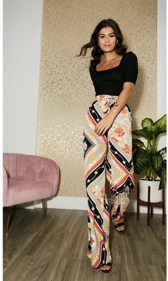 Tall Scarf-Print Palazzo Trousers