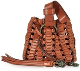 Roberto Cavalli Mini Rust Woven Leather Bucket Bag
