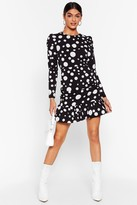 Nasty Gal Womens Dot With Me Ruched Mini Dress - black - S