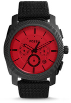 Fossil Machine Chronograph Black Nylon and Leather Watch