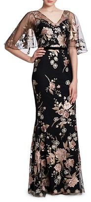 Marchesa Floral Flutter-Sleeve Mermaid Gown