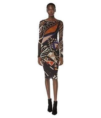 Fuzzi Long Sleeve Geometric Knee-Lengthed Dress