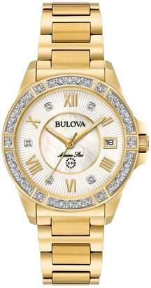 Bulova Analog Goldtone Bracelet Watch with 0.025 CT. T.W. Diamonds