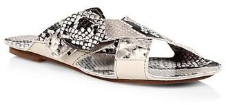 Definery Loop Cross Snakeskin-Embossed Leather Flat Sandals