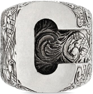 "Gucci C"" letter ring in silver"