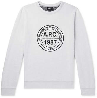 A.P.C. Logo-Print Melange Loopback Cotton-Jersey Sweatshirt