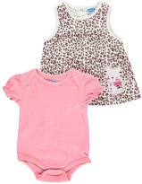 Bon Bebe Girls' 2 Piece French Terry Jumper Set with Lap Shoulder Short Sleeve Bodysuit