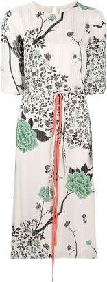 Victoria Victoria Beckham Floral-Print Midi Shift Dress