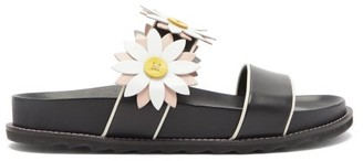 Fabrizio Viti - Ingrid Berkley Daisy-applique Leather Slides - Black Nude