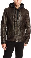 Andrew Marc Men's Washington Distressed Faux Leather Moto Jacket