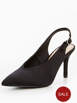 Very Glam Satin Low Vamp Heeled Shoe - Black