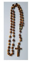 "Olive Wood Rosary with Holy Water from the Jordan River - With Certificate of Authenticity (51 cm or 20"") by Bethlehem Gifts TM"