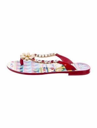 Dolce & Gabbana Rubber Printed Flip Flops Red