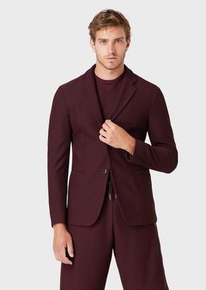 Giorgio Armani Single-Breasted Jacket In Embossed Tech Fabric