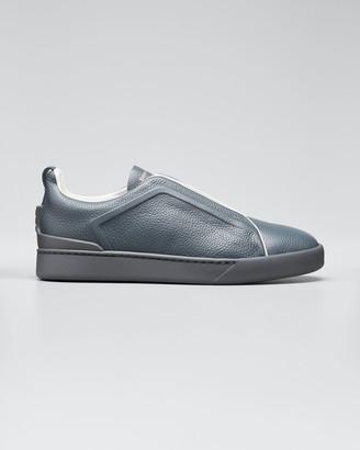 Ermenegildo Zegna Men's Triple-Stitch Leather Slip-On Sneakers