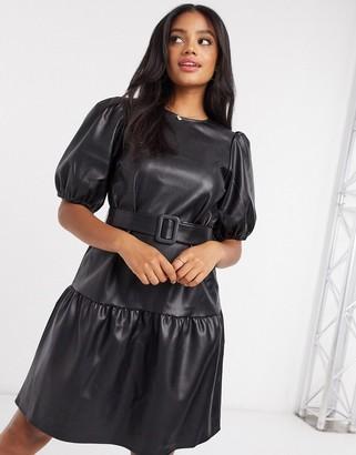 Vero Moda peplum hem faux-leather dress in black