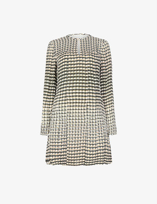 Reiss Evie geometric-print crepe dress