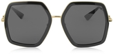 Gucci GG0106S 001 Black Acetate and Gold Metal Square Oversized Women's Sunglasses