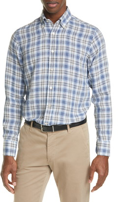 Canali Regular Fit Plaid Linen Button-Up Shirt