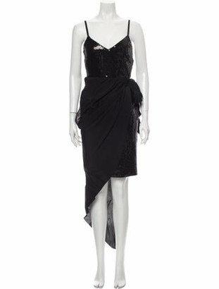 Boutique Moschino V-Neck Long Dress Black