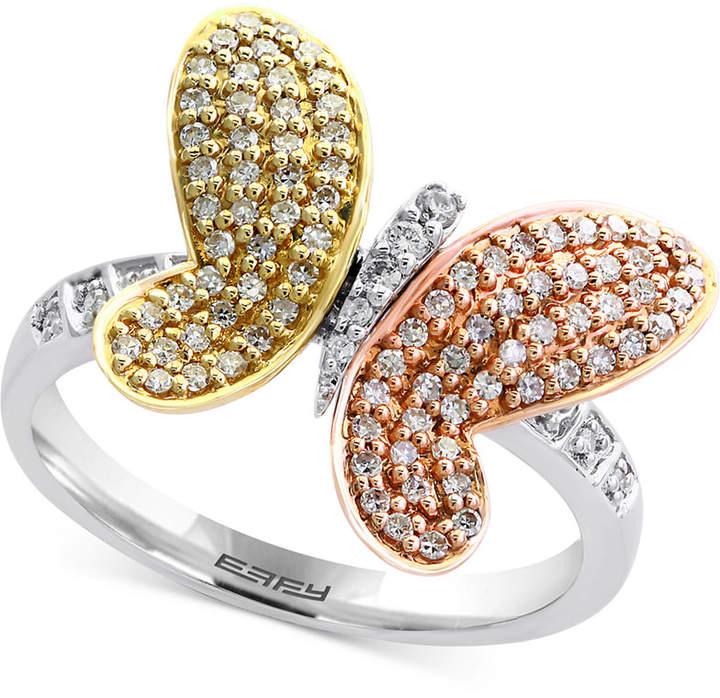 Effy Trio by Diamond Butterfly Ring (3/8 ct. t.w.) in 14k White Gold, Rose Gold and Gold