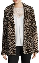 A.L.C. Stone Leopard-Print Shearling Coat