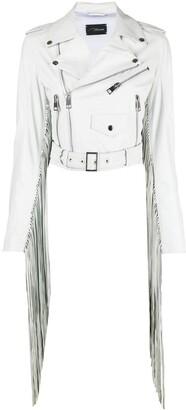 Manokhi Fringed-Edge Leather Jacket