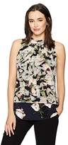 Ellen Tracy Women's Mixed Print Overlay Shell