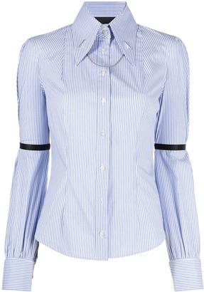 John Richmond Chain-Link Detail Pinstripe Shirt