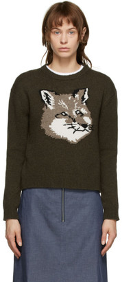 MAISON KITSUNÉ Khaki Fox Head Sweater
