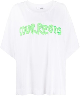 Courreges embroidered logo cotton T-shirt