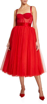Dolce & Gabbana Bustier Tulle Midi Dress