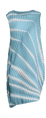 Issey Miyake Shibori Pleats Sleeveless Asymmetric Midi Dress