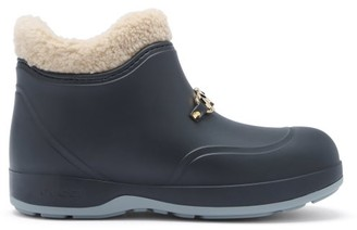 Gucci Crossby Zumi-plaque Shearling-lined Rubber Boots - Black