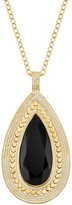 Anna Beck 18K Gold Plated Sterling Silver Black Onyx Stone Drop Pendant Necklace