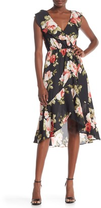 Socialite Ruffled Faux Wrap High/Low Midi Dress