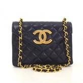Chanel excellent (EX) Vintage Navy Quilted Leather Shoulder Bag