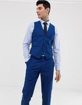 Harry Brown wedding slim fit textured blue curved suit vest